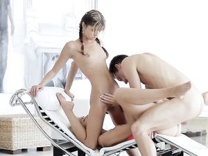Skinny Teenage Goddesses Have A Hardcore Threesome