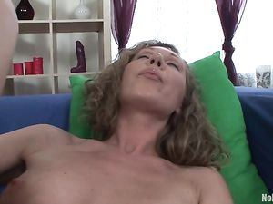 Curly Hair Cutie With Sexy Legs Fucking Big Toys