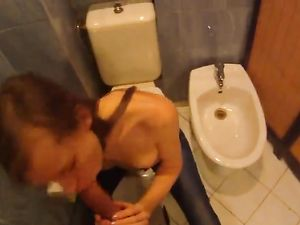 18 Year Old Gives Head In A Public Bathroom