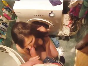 Feeding Big Cock To A Slutty Teen In His Bathroom