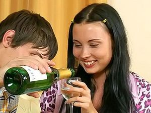 Seducing His GF With Champagne And Big Cock