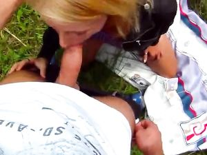 Sexy Blowjob In The Grass From A Blonde Amateur