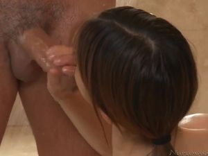Soapy Stroking In His Shower From A Petite Young Lady