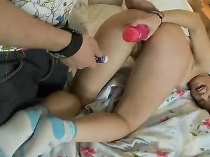 Teen Moans As He Makes Her Cum With Toys