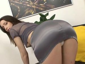 Satin Skirt On Her Tight Ass Drives Him Crazy For Sex