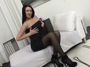 Striptease To Her Stockings And Heels To Suck Dicks