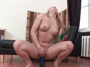Chubby 19 Year Old Fills Her Excited Cunt With Toys
